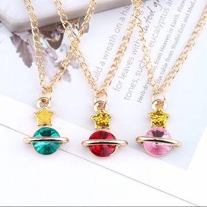 Jewelry - Red Garnet CZ Planet Glitter Star Charm Necklace